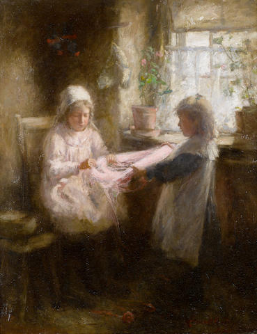 Robert Gemmell Hutchison, RSA RBA ROI RSW (British, 1855-1936) Girls knitting 58.7 x 46 cm. (23 x 18 in.)