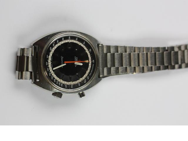 Omega: A gentleman's stainless steel chronostop seamaster wristwatch1960s