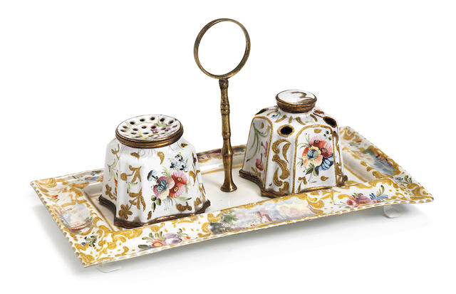 Inkstand with pot and ink well (restored)