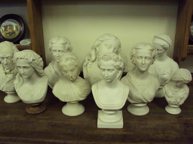 A quantity of parian busts