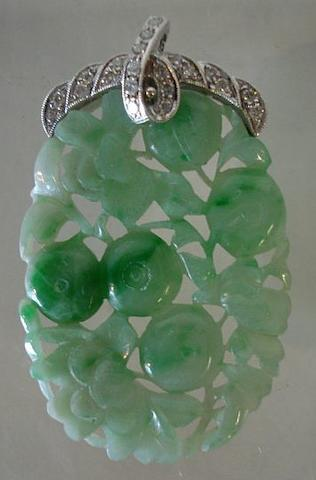 An apple-green jadeite and diamond pendant  20th Century