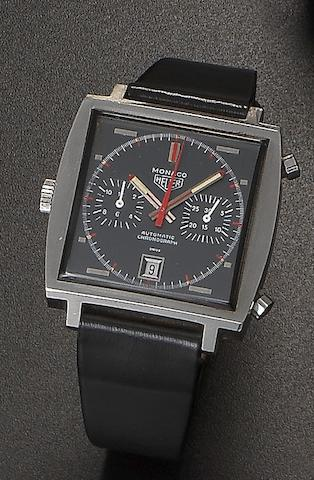 Heuer. A stainless steel automatic calendar chronograph wristwatch Monaco