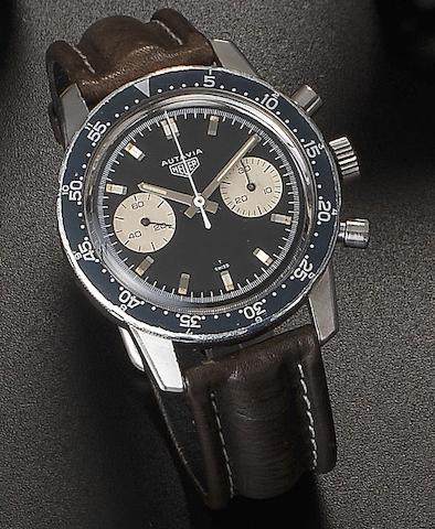 Heuer. A stainless steel manual wind chronograph wristwatchAutavia, Ref:7763 MH, Circa 1967