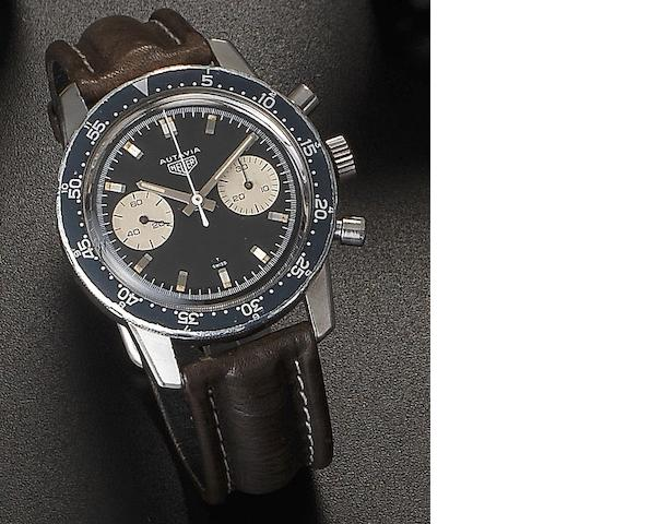 Heuer. A stainless steel manual wind chronograph wristwatch Autavia