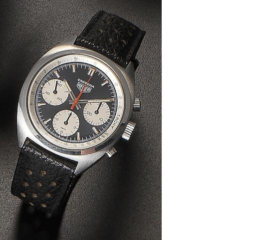 Heuer. A stainless steel manual wind chronograph wristwatch Carrera