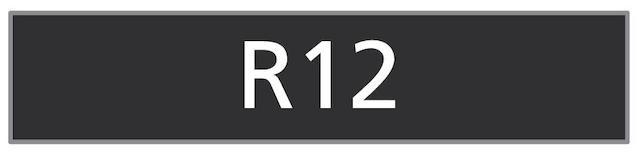 The Registration number 'R12'