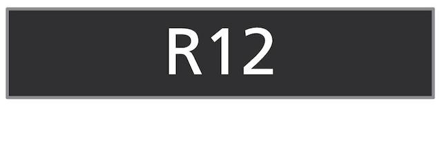 The Registration number 'R12'