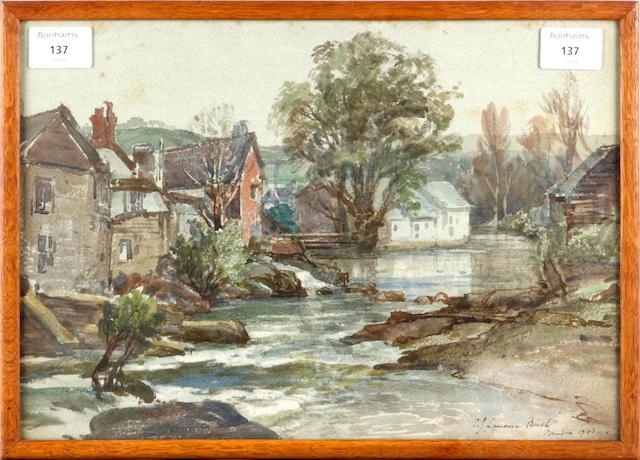 Samuel John Lamorna Birch, R.A., R.W.S., R.W.A. (British, 1869-1955) River scene 26 x 37 cm. (10 1/4 x 14 1/2 in.)