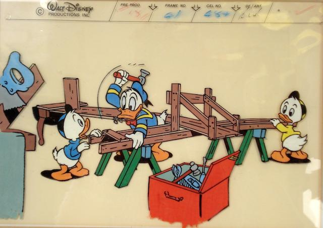 Walt Disney: Two cels of Donald Duck with Huey, Louie, Dewey,