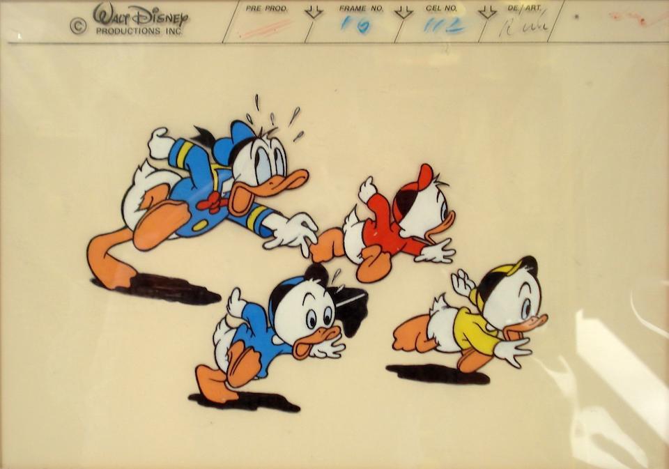 Walt Disney: Two cels of Donald Duck with Huey, Louie, Dewey,