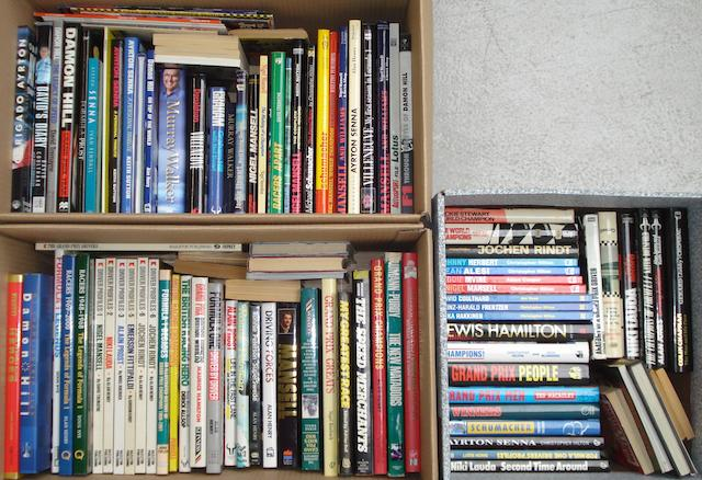 A quantity of racing driver reference books and biographies,