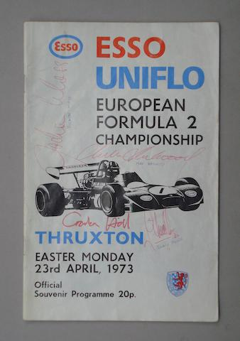A 1973 Thruxton European Formula 2 race programme, signed by many drivers,