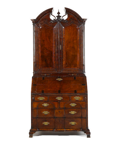 A rare George II Irish walnut, crossbanded and featherbanded and marquetry bureau bookcase possibly by the Kirchoffer family