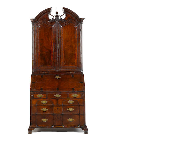 A George II Irish walnut, crossbanded and featherbanded and marquetry bureau bookcase
