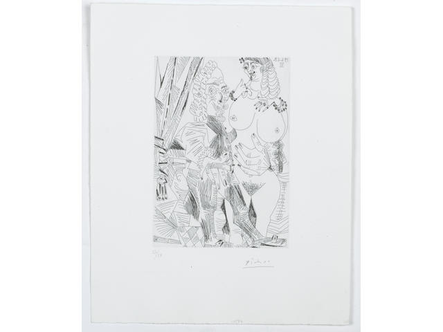 Pablo Picasso (Spanish, 1881-1973) Grosse Courtisane et Vieux Beau (from Series 347) Etching, 1968, on Rives, signed and numbered 17/50 in pencil, published by Galerie Louise Leiris, Paris, the full sheet, 347 x 284 mm (17 5/8 x 11 1/4 in)(SH) (unframed)