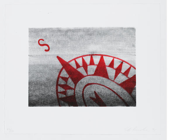 Edward Ruscha (American, born 1937) South Lithograph, 1991, on BFK Rives, signed, dated and numbered in 47/50 in pencil, published by Creative Works Editions, Osaka, Japan, 382 x 460mm (15 x 18 in) (SH) (unframed)