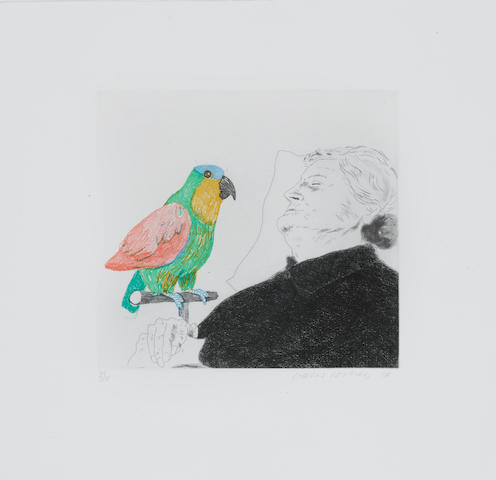 David Hockney (British, born 1937) Félicité Sleeping with a Parrot: Illustration for 'A Simple Heart' of Gustave Flaubert Etching, softground etching and aquatint printed in colours, 1974, on Arches, signed, dated and numbered 38/100 in pencil, printed by Crommelynck, Paris, published by Petersburg Press, London, 215 x 235mm (8 1/2 x 9 1/4in)(PL) unframed