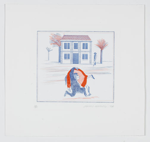 David Hockney (British, born 1937) Geography Book (Félicité's only view from abroad): Illustration for 'A Simple Heart' of Gustave Flaubert Etching, softground etching and aquatint printed in colours, 1974, on Arches, signed, dated and numbered 38/100 in pencil, printed by Crommelynck, Paris, published by Petersburg Press, London, 215 x 235mm (8 1/2 x 9 1/4in)(PL) unframed