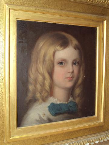 Follower of Sophie Anderson (British, 1823-1903) Portrait of a young girl with blond ringlets, bust length, wearing a white dress with blue bow
