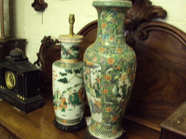 Two large lamped Chinese vases