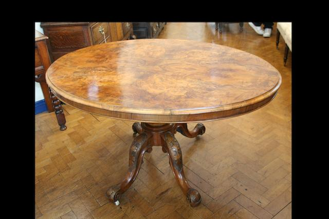 A Victorian burr walnut loo table