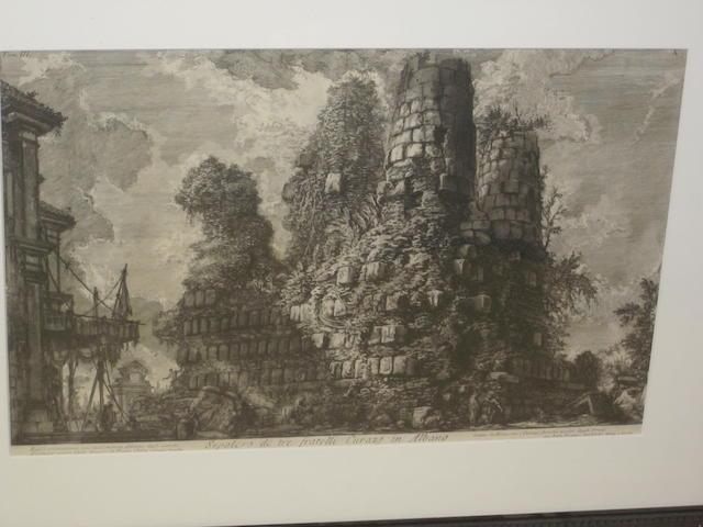 Giovanni Battista Piranesi (Italian, 1720-1778) 'Sepolcro de tre fratelli Curazi in Albano'