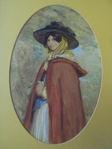 Octavius Oakley (British, 1800-1867) Study of a young lady wearing a red cloak and black bonnet with yellow headscarf