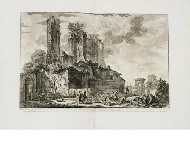 Giovanni Battista Piranesi (Italian, 1720-1778) Vedute di Roma - The Fontana Dell'Acqua Giulia Etching, 1753, a good impression of the third state of six, on laid, with full margins and watermarked H.3, 402 x 605mm (15 3/4 x 23 3/4in)(PL). Bound into an album with five other etchings from a series depicting antique ornament 6  album