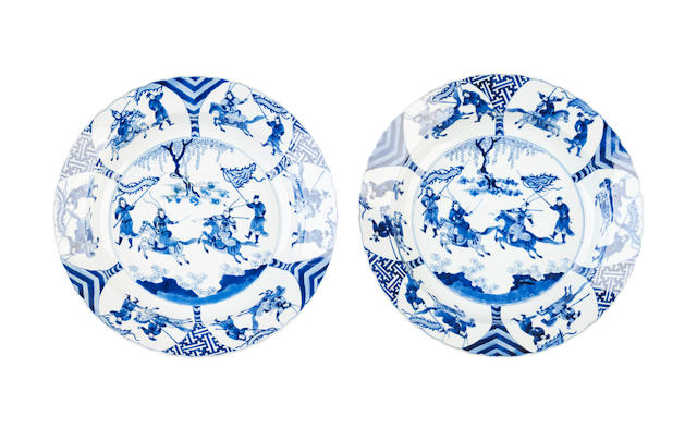 A pair of blue and white deep dishes Bearing six character Chenghua marks but Kangxi