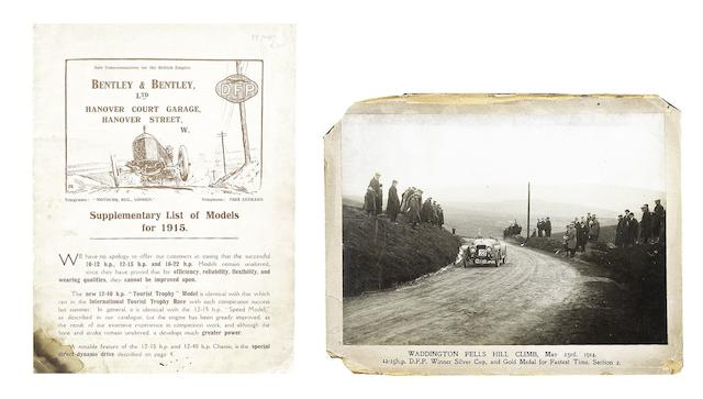 A Bentley & Bentley Ltd DFP Concessionaires sales brochure, 1915,