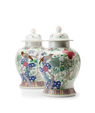A pair of famille rose baluster vases and covers 19th century
