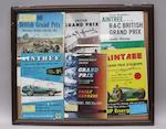 Two framed montages of signed motor racing programmes