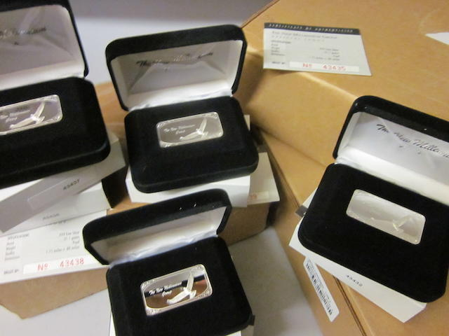 A collection of sixty 1 troy ounce silver ingots,