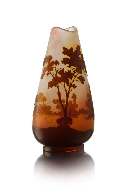 A small Emille Gallé 'landscape' cameo glass vase Circa 1900