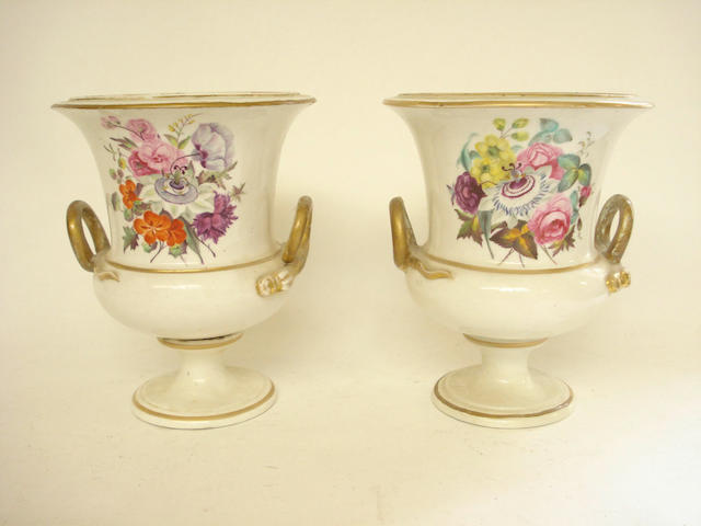 A pair of Derby urns 19th century