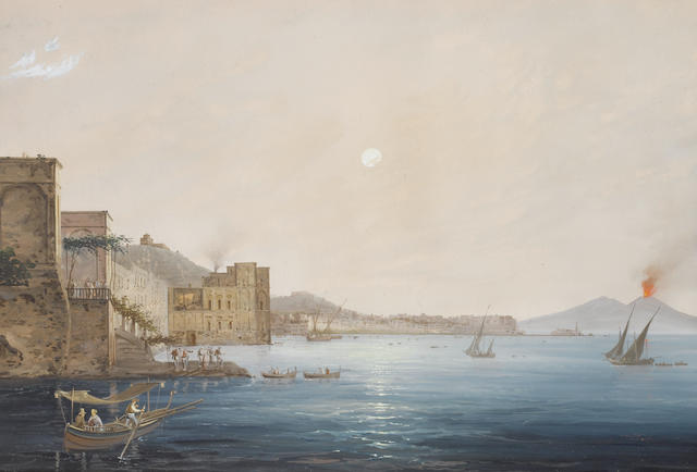 Gioacchino LaPira (Italian, 1839-1870) Vesuvius in eruption with the Bay of Naples in the distance; The Bay of Naples