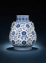 A very fine and large blue and white pear-shaped vase, hu Qianlong seal mark and of the period