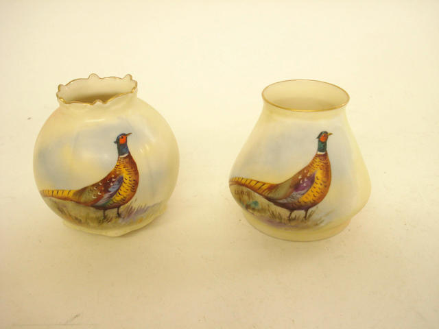 Two Locke & Co pheasant painted vases by E Blake