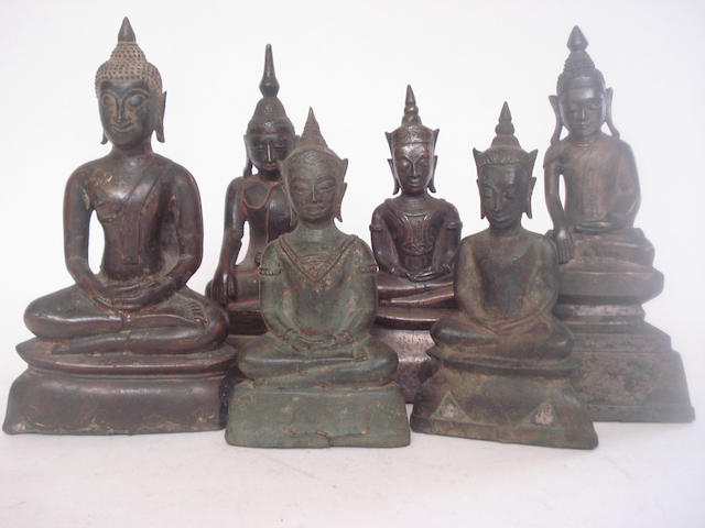 Six bronze buddhas Thai