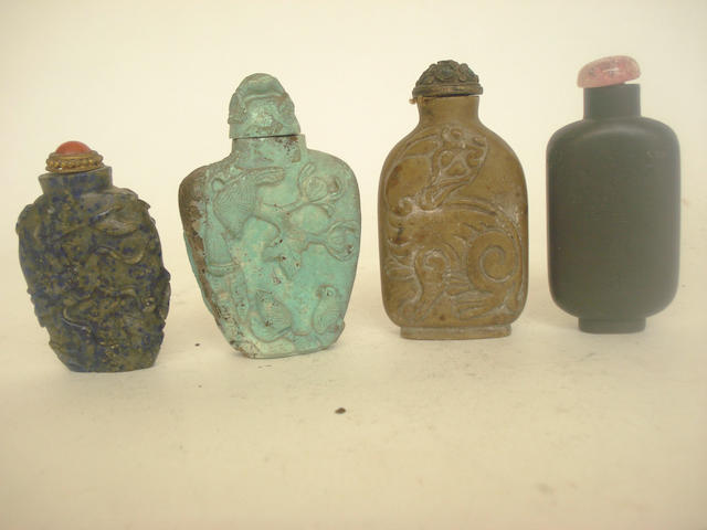 Four mineral snuff bottles