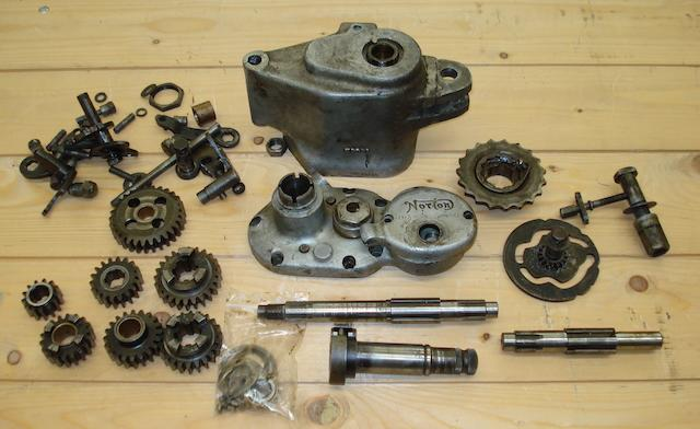 A dismantled pre-War Norton 'Dolls Head' gearbox,