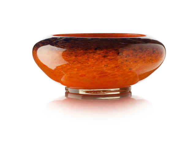 A Monart cased glass bowl
