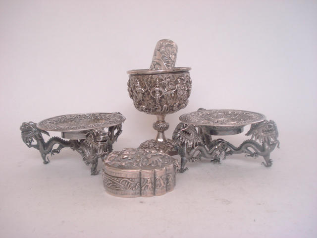 A collection of white metal collectables 19th century