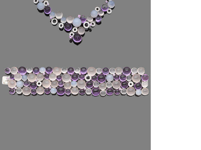 A multi gem-set and diamond necklace, bracelet and earring suite (3) (partially illustrated)