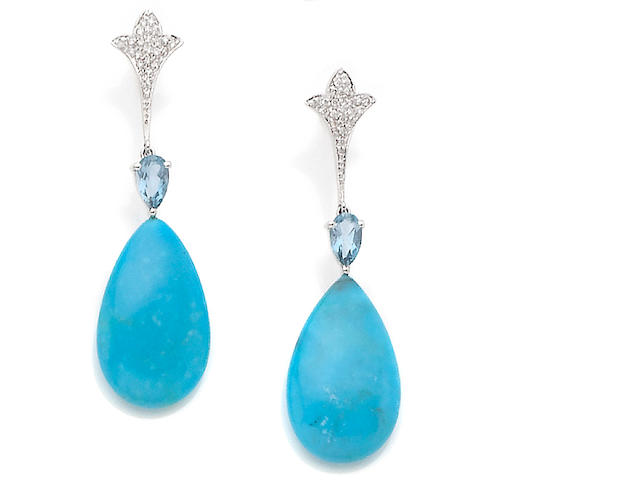 A pair of turquoise, aquamarine and diamond pendent earrings