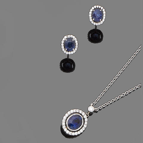 A sapphire and diamond earring and pendant suite (2)