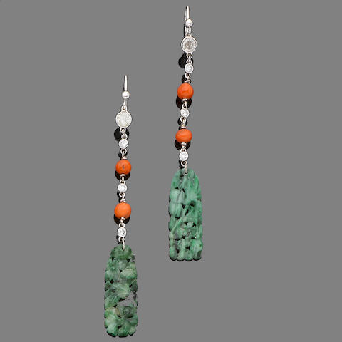 Two pairs of gem-set earrings (2) (partially illustrated)