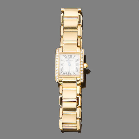 A diamond-set gold 'Tank Française' wristwatch, by Cartier