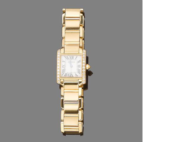 A diamond-set gold 'Tank Française' wristwatch, by Cartier