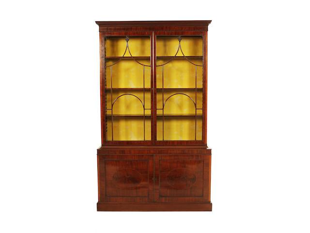 A George III mahogany and satinwood banded display cabinet